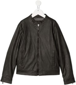 faux leather bomber jacket - Brown