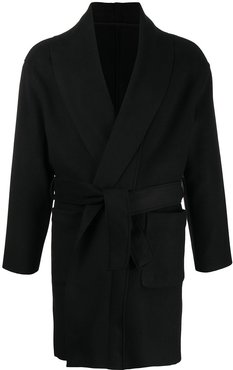 virgin wool trench coat - Black