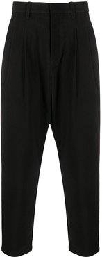 drop-crotch tapered trousers - Black