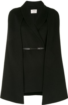 belted wool-blend cape - Black