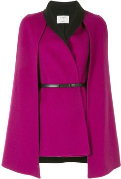 belted wool-blend cape - PINK