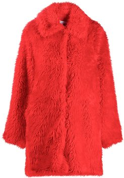 single-breasted coat - Red