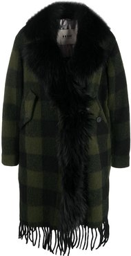 faux fur collar checked coat - Green