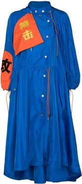 oversized hooded embroidered motifs raincoat - Blue