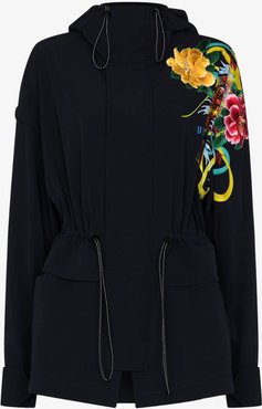 Floral Print Placement Hooded Parka Jacket