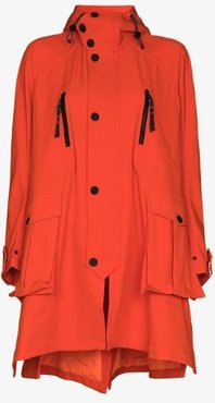 Embroidered Hooded Parka Coat