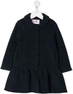ruffled hem coat - Blue