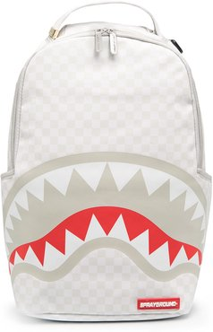 shark mouth print backpack - White
