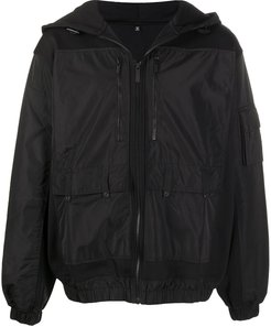 slouch hooded zip-up jacket - Black