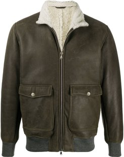shearling-lined leather bomber jacket - Green