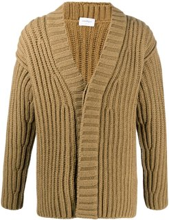 ribbed knit cardigan - Brown