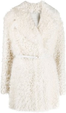 fitted shearling coat - White