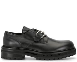 chunky lace-up monk shoes - Black