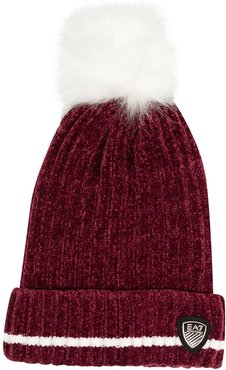 pompom knitted beanie - Red