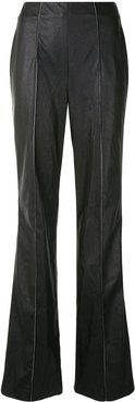 vegan leather bootcut trousers - Black