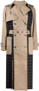 check-panel trench coat - Brown