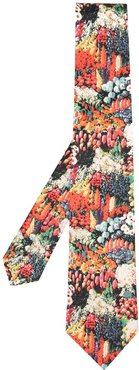 floral silk embroidered tie - ORANGE
