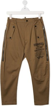 TEEN logo-print casual trousers - Brown