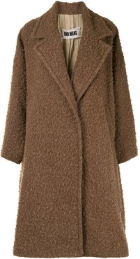 double-breasted shaggy coat - Brown