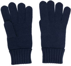 embroidered-logo wool gloves - Blue