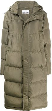 detachable sleeves quilted puffer coat - Green
