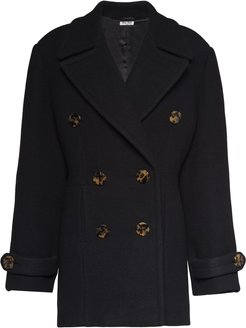 double.breasted twiil peacoat - Black