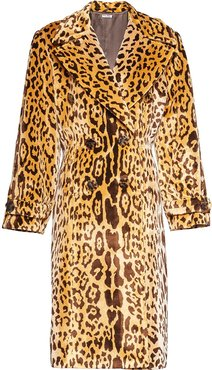 double-breasted leopard coat - Brown