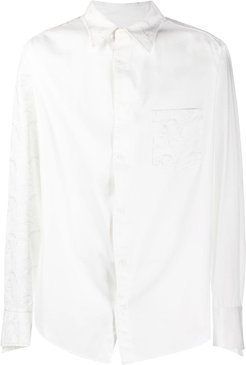 embroidered detail long-sleeved cotton shirt - White
