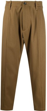 straight-leg ankle grazer trousers - Brown
