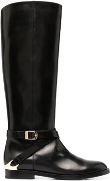 side-buckle boots - Black