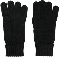 embroidered crocodile wool gloves - Black