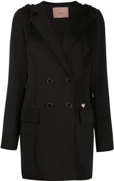double-breasted hooded coat - Black