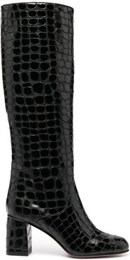 embossed calf-length boots - Black