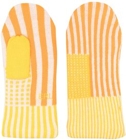 striped wool gloves - ORANGE