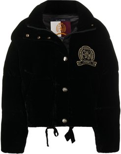 embroidered patch puffer jacket - Black