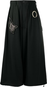 high-waisted wide leg trousers - Black