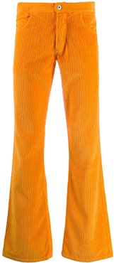 mid-rise corduroy flared trousers - ORANGE