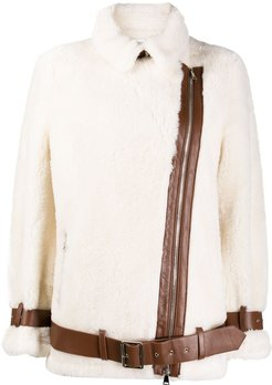 belted shearling jacket - White