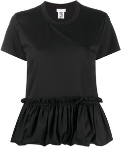 ruffle-trim cotton T-shirt - Black
