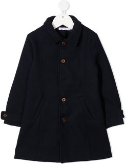 straight-point collar coat - Blue