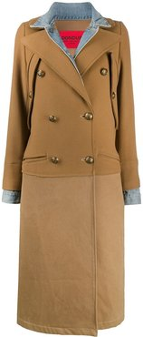 long-sleeved contrast panel coat - Brown