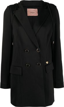 double-breasted tuxedo hoodie - Black
