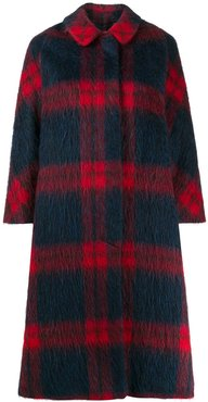 checked swing coat - Blue