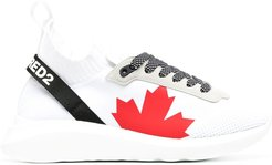 logo-print knitted sneakers - White