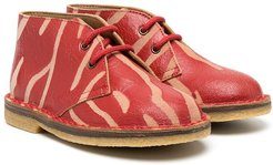 tiger print ankle boots - Red