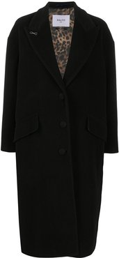 loose single-breasted coat - Black
