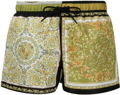 baroque-print swimming shorts - White