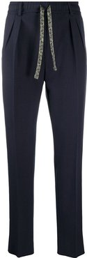 drawstring tailored trousers - Blue