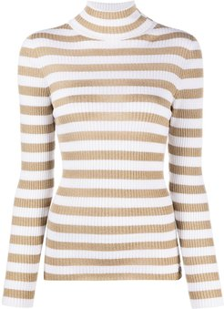 turtleneck metallic-stripe jumper - White