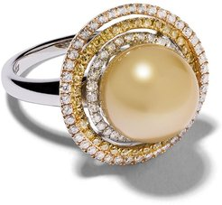 18kt white gold Aurelia Golden South Sea Pearl and diamond ring - SILVER